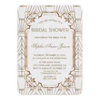 white gold great gatsby art deco bridal shower invitation