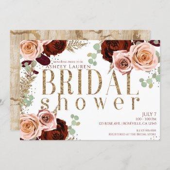 white gold pink burgundy roses bridal shower invitation