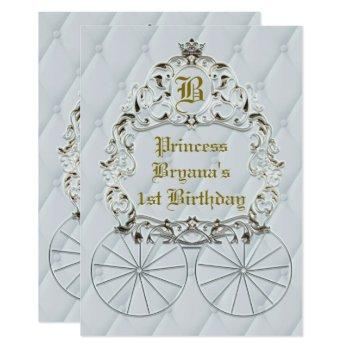 white gold royal crown carriage party invitations