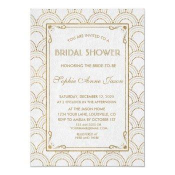 white great gatsby art deco gold bridal shower invitation