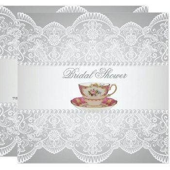 white lace bridal shower tea party invitation