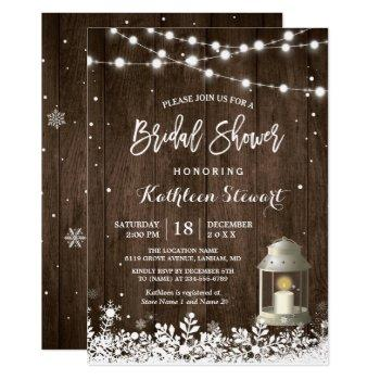 white lantern string lights winter bridal shower invitation