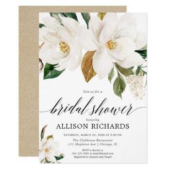 white magnolia floral rustic bridal shower invitation