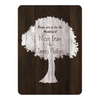 white oak tree & wood rustic wedding invitations