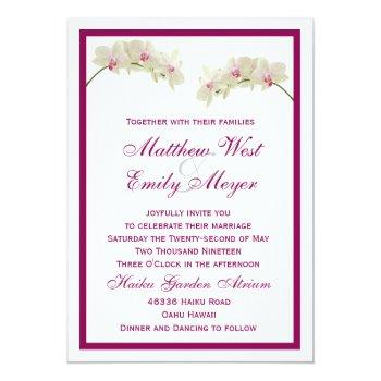 white orchid flowers tropical beach wedding invitation