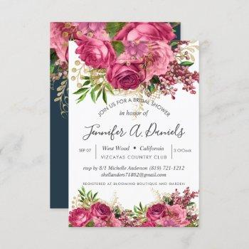 white pink watercolor floral bridal shower invitation
