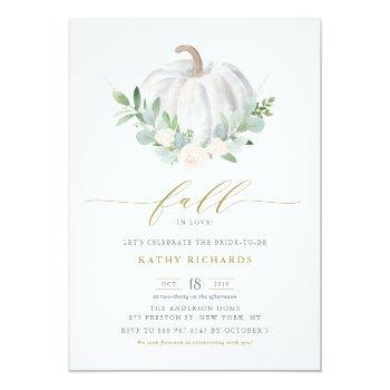 White Pumpkin And Greenery Fall Bridal Shower Invitation Front View