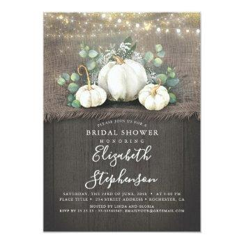 white pumpkins rustic country fall bridal shower invitation