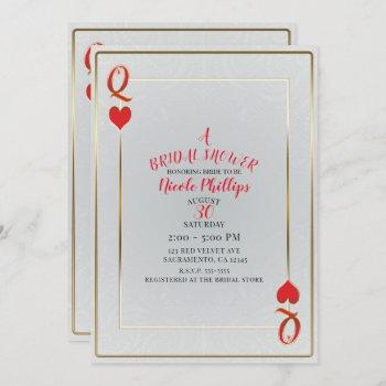 white & red queen of hearts bridal shower invitation