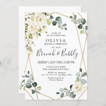 white rose eucalyptus greenery brunch & bubbly invitation