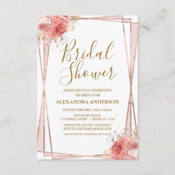 white rose gold floral bridal shower invitation