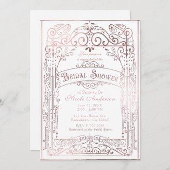 white & rose gold vintage victorian bridal shower invitation