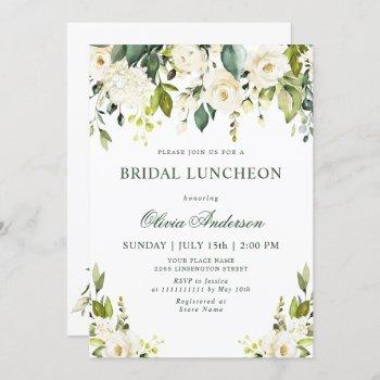 white roses floral  watercolor bridal luncheon invitation
