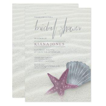 white sands bridal shower plum/steel blue id605 invitation