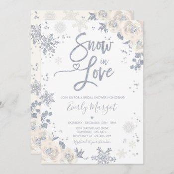 white & silver winter bridal shower snow in love invitation