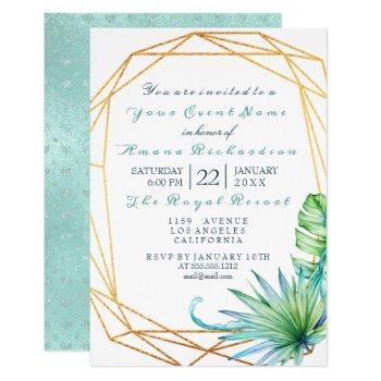 white tropic aqua gold  frame birthday bridal invitation