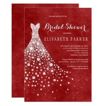 white wedding dress red burgundy bridal shower invitation