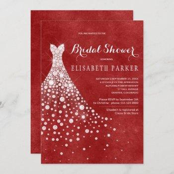 white wedding dress red burgundy bridal shower invitation