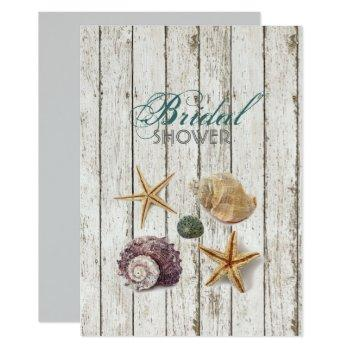whitewashed  wood seashells beach bridal shower invitation