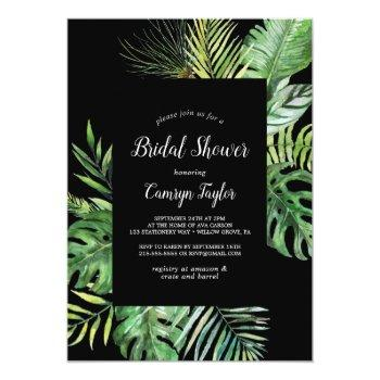 wild tropical palm | black bridal shower invitation