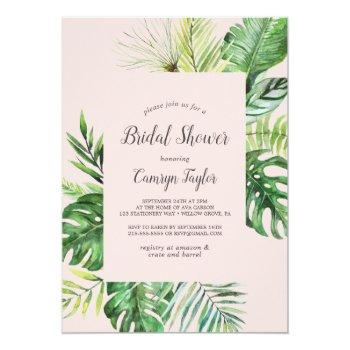 wild tropical palm | blush bridal shower invitation