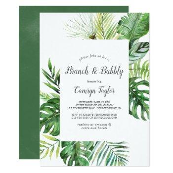 wild tropical palm brunch and bubbly invitation