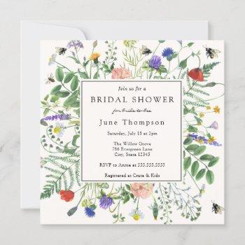 wildflower fields and buzzing bees bridal shower invitation