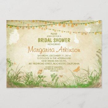 wildflowers and string lights bridal shower invitation