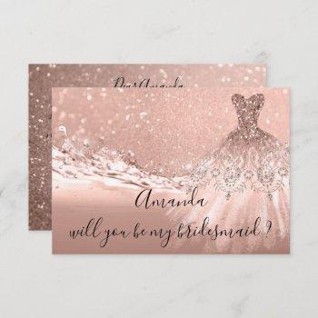 will you bridesmaid  glitter ocean  rose gold invitation