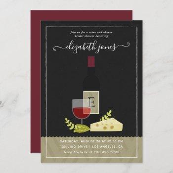wine and cheese bridal shower monogram invitation