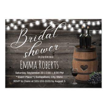 wine barrel rustic string light barn bridal shower invitation