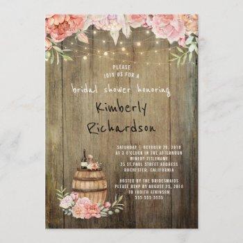 wine barrel rustic string lights bridal shower invitation