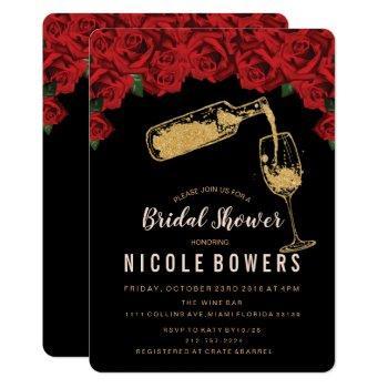 wine glass glitter bridal shower invitation
