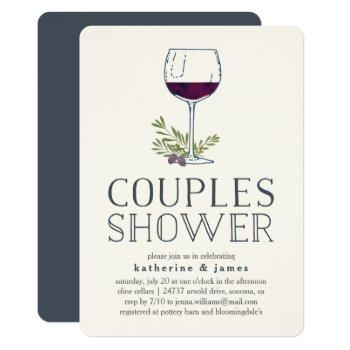 winery or wine tasting couples shower invitation