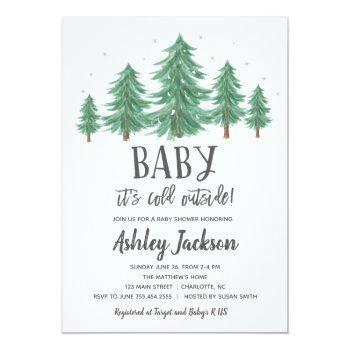 winter baby shower greenery woods invitation