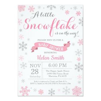 winter baby shower invitation pink snowflake