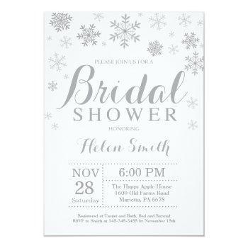 winter bridal shower invitation gray snowflake
