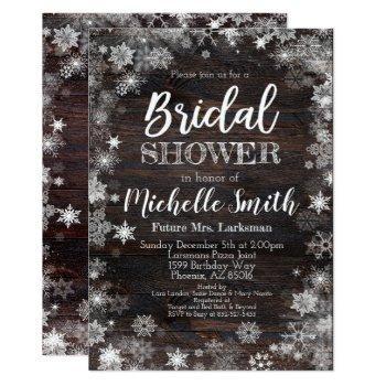 winter bridal shower invitation, rustic bridal invitation
