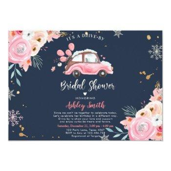 winter drive by bridal shower pink floral wedding invitation