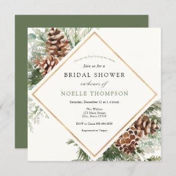 winter evergreen and pine bridal shower invitation