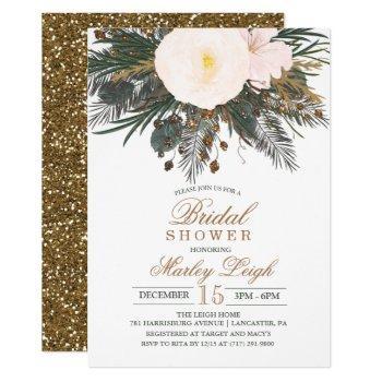 winter floral glitter bridal shower invitation