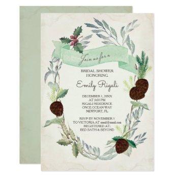 winter greenery bridal shower invitation