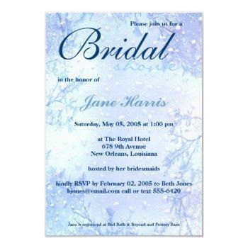 winter ice blue elegant bridal shower invite