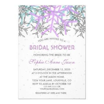 winter silver purple blue snowflakes wedding invitation