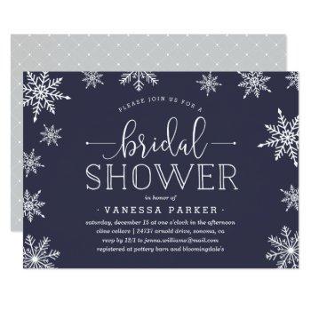 winter snowfall bridal shower invitation