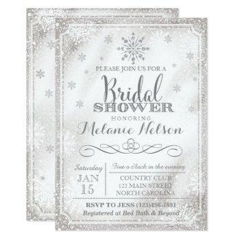 winter snowflake bridal shower invitation