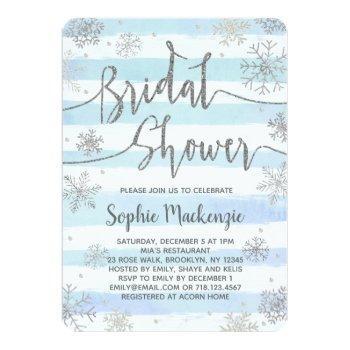winter snowflakes bridal shower invitation silver