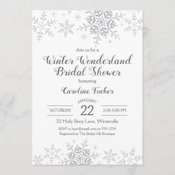 winter wonderland bridal shower silver snowflakes invitation