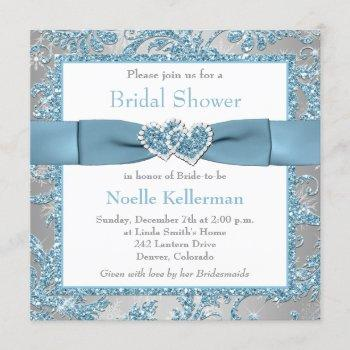 winter wonderland, hearts bridal shower invite