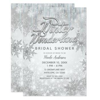 winter wonderland white snowflakes elegant party invitation